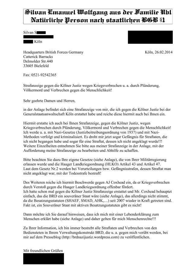 Headquarters British Forces - Strafanzeige gegen Kölner Justiz-1