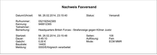 Headquarters British Forces - Strafanzeige gegen Kölner Justiz-5