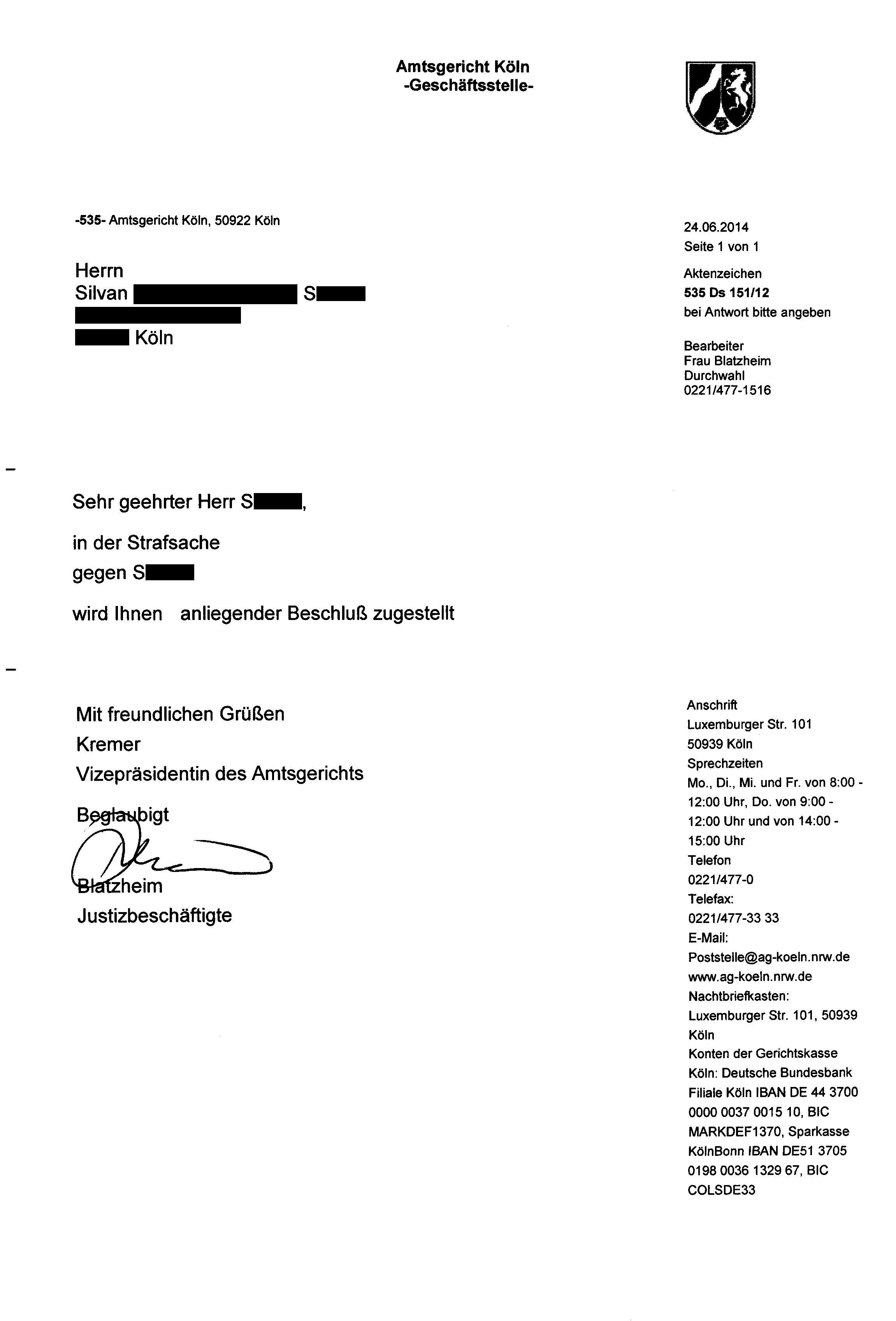 Nazi Vizepräsidentin Heike Kremer der Firma Amtsgericht Köln noch