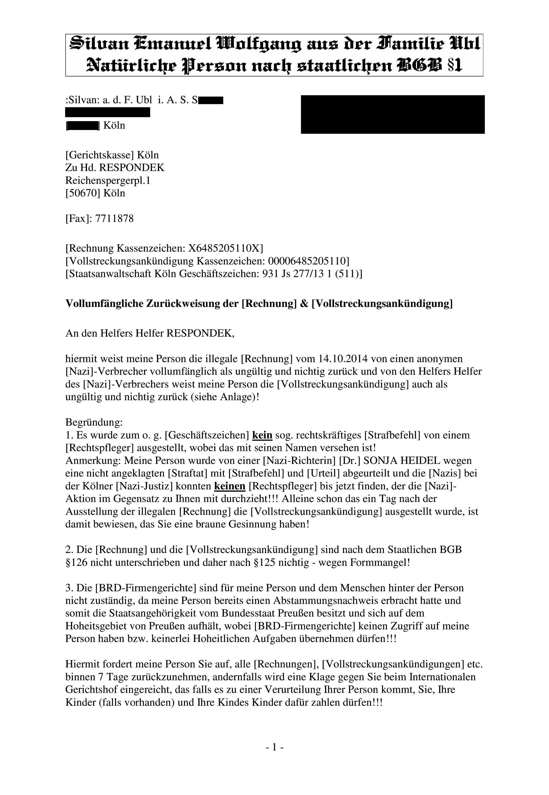 Nazi-Party: Antwortschreiben gegen Gerichtskasse Köln wegen ...