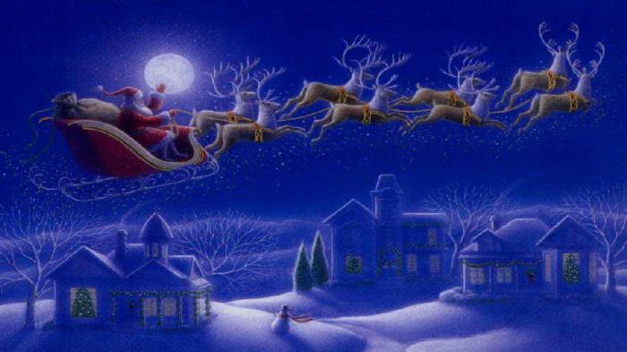 Weihnachtsmann mit Schlitten