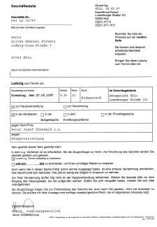 Ladung von Firma Amtsgericht Köln