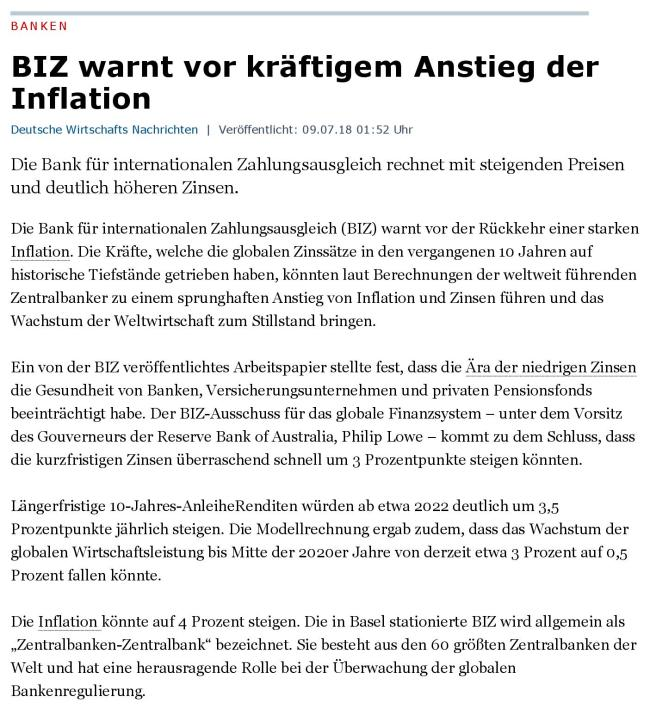 DWN-BIZ warnt vor Inflation