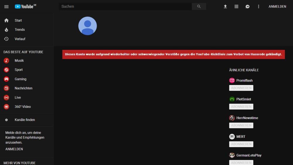 TTA YouTube-Kanal gelöscht