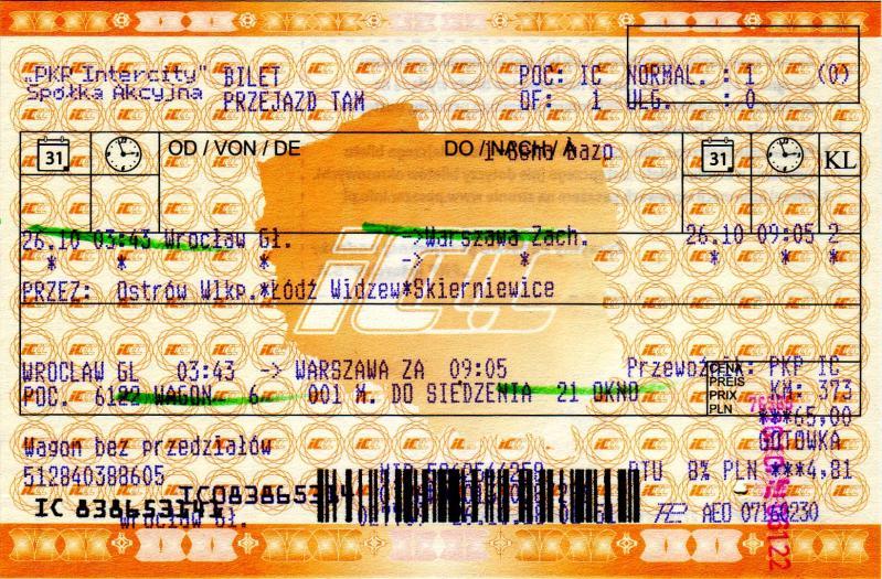 Fahrkarte nach Warschau