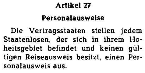 Staatenlosenübereinkommen Artikel 27