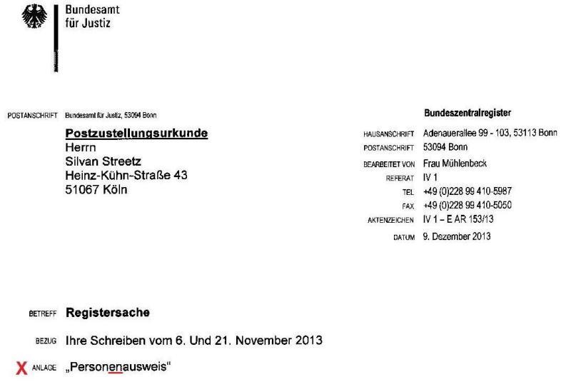 Firma Bundesamt für Justiz - Rückgabe Personenausweis