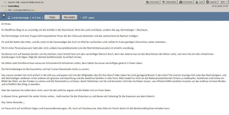 Drohmail vom Nazi-Terrorist BND-Verfassungsschutz
