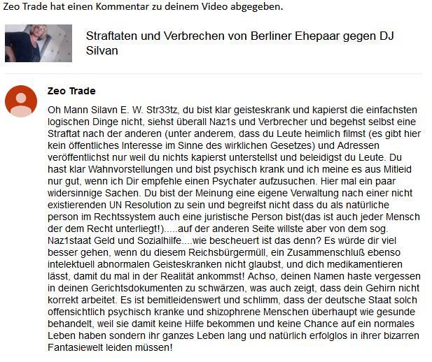 Kommentar - Zeo Trade auf YouTube